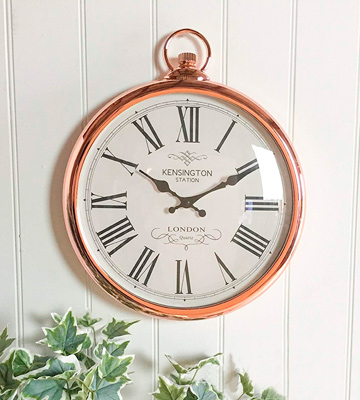 Review of SIL Kensington Station Wall Clock Round Copper Roman Numeral Pocket