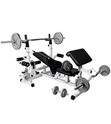 Gorilla Sports 100130-00002-0001 Universal Workstation with Cast Iron Weight Set