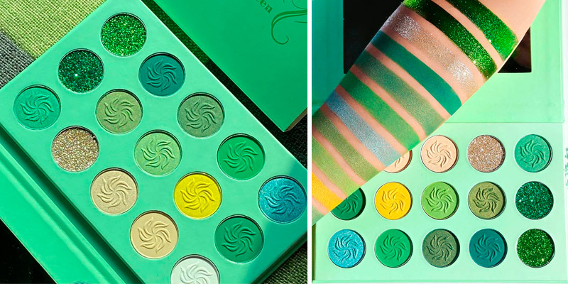 Review of Afflano Green Matte and Glitter Eyeshadow Palette