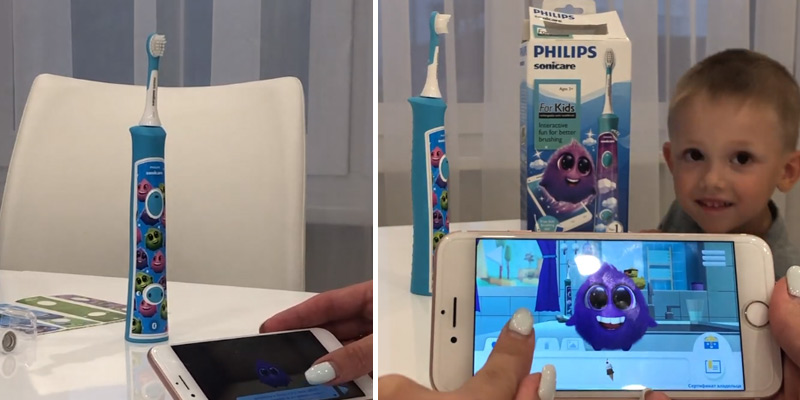 Philips HX6322/04 Sonicare Bluetooth Toothbrush for Kids in the use