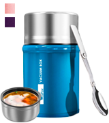 WisFox Insulated 304 StainlessSteel Food Flask with Folding Spoon Storage Bag