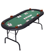 Costway 8 Players Foldable Poker Table Top with Drink Holders