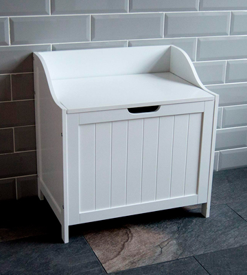 Review of Home Discount Laundry Bin Wooden Priano Bathroom Cabinet Storage Cupboard
