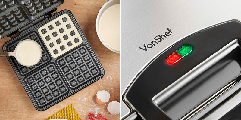VonShef 13/307 Large Quad Belgian Waffle Maker in the use