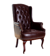 ANGEL HOME & LEISURE Queen Anne Fireside Wing Back Leather Chair