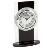 Widdop modern mantle clock Glass and black
