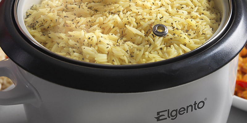 Elgento E19013 Rice Cooker and Steamer in the use