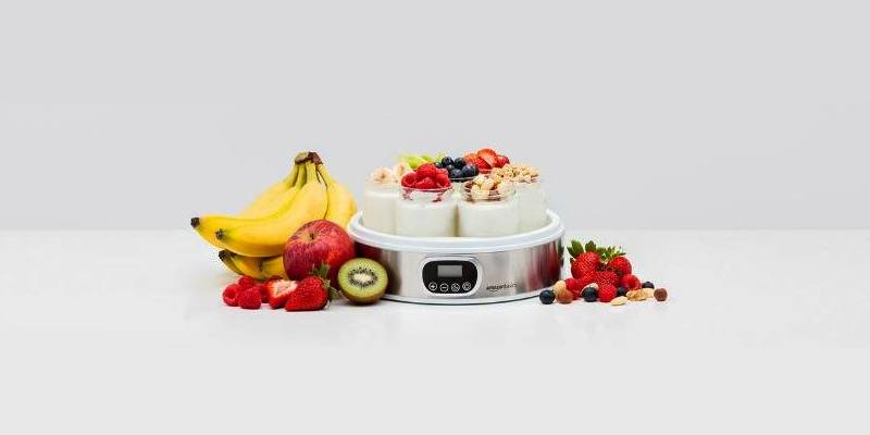 Review of AmazonBasics Brushed stainless-steel finish Yoghurt Maker with Timer