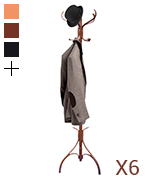 Home Discount Wooden Walnut Finish Floor Standing Coat Rack
