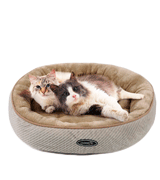 Pecute Oval Washable Plush Cat Bed for Large Cats