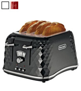 De'Longhi CTJ4003.BK Brillante Faceted 4 Slice Toaster
