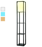 MiniSun Wooden Finish with a White Fabric Shade Floor Lamp with Built In Shelving Units