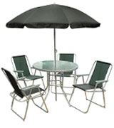 Kingfisher FS6PB Garden Furniture Set with Umbrella