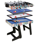 HLC 0062BK 4 in 1 Multi Sports Game Table Pool/Air Hockey/Mini Table Tennis/Football
