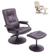 HomCom Lounge Seat w/Footrest Stool Executive Recliner Swivel Armchair