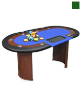 Anself PKU5919247862368IP 10-Player Poker Table with Dealer Area and Chip Tray Blue