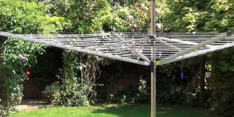 Review of Brabantia Lift-O-Matic Rotary Airer Washing Line with 45mm Metal Soil Spear and Accessories, 50 m - Silver