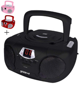 Groov-e GVPS713BK Boombox Portable CD Player with Radio & Headphone Jack
