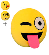 The Fone Stuff Emoji Pillow Sticking Tongue Out Cushion Emoticon Plush Smiley Cushion Pillow