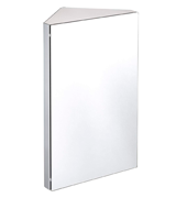 Harima Bathroom Corner Cabinet with Mirror and 3 Shelves Wall Mounted, Stainless Steel Frame