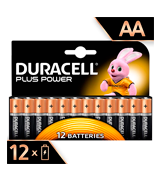 Duracell MN1500 Plus Power Type AA Alkaline Batteries, Pack of 12