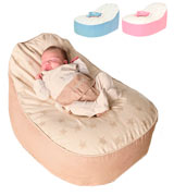 Bambeano Baby Bean Bag Natural Cream Support Chair - Natural - With FREE 'My 1st Bean Bag' Cover