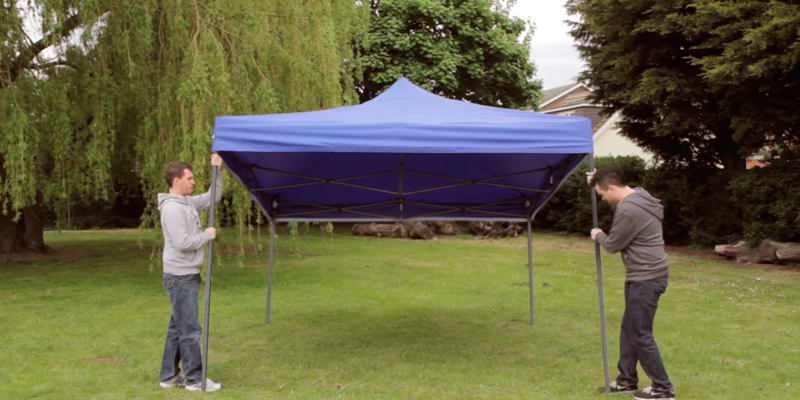 Review of AllSeasonsGazebos Metal-Textile 3x4.5m, Heavy Duty, Fully Waterproof, PVC Coated, Premium Pop Up Gazebo + Carry Bag With Wheels & 4 x Superior Leg Weight bags