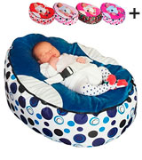 Mama Baba Baby Bean Bag Blue Snuggle Bed Bouncer with Filling