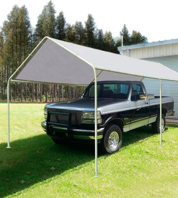Review of Quictent 3x6M Heavy Duty Carport White Portable Garage Steel Frame Car Shelter Outdoor Car Canopy With Waterproof Tear Resistance Cove