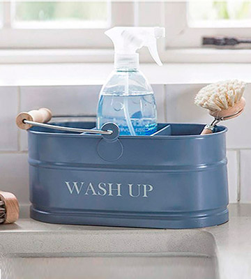 Review of Thorness Shabby Chic Vintage Kitchen sink blue Enamel Washing Up Sink Tidy