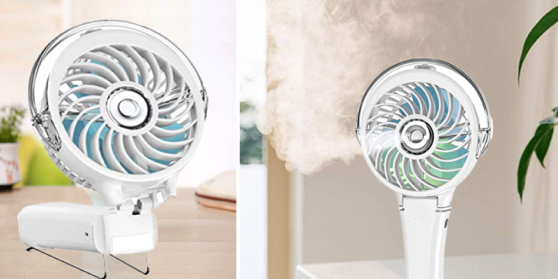 HandFan Portable Misting Fan with 7 Color Flash Light in the use