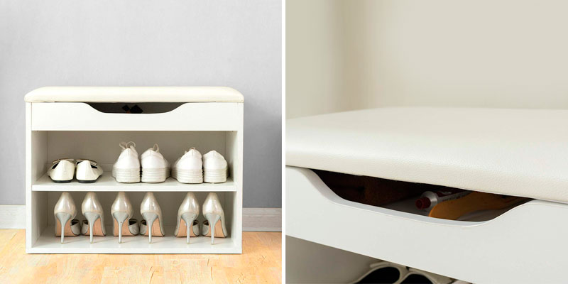 Review of Cherry Tree Furniture NOA-11-WHTBLK Shoe Rack Bench Storage