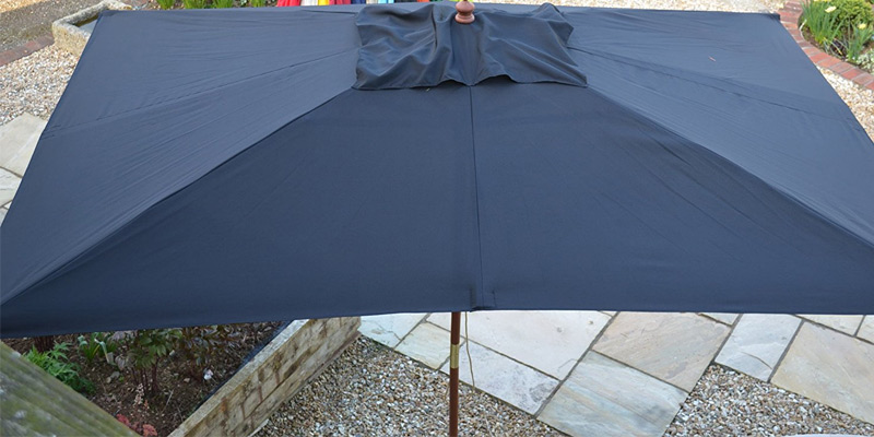 Jati Rectangular Garden Parasol 3x2m in the use