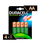 Duracell HR6DX1500 Recharge Ultra Type AA Batteries 2500 mAh, Pack of 4