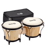 RockJam 100300 7 & 8 Bongo Drum Set with Padded Bag, Natural