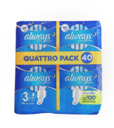 Always 40Pcs Ultra Thin Night Sanitary Towels with Wings