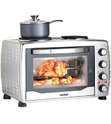 VonShef 13/217 Mini Oven, Grill & Rotisserie with Double Hot Plates